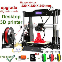 Wholesale commercial color - New Upgrade desktop 3D Printer Prusa i5 Size 220*220*240 mm Acrylic Frame LCD 2.5Kg Filament 16G TF Card for gift Big main board 3D Printers