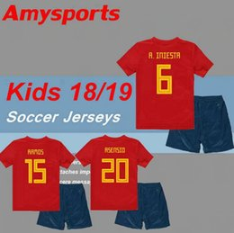 c87aa9751 2018 Kids Spain kit boy youth Spain Soccer Jerseys RAMOS ISCO PIQUE INIESTA  ASENSIO THIAGO MORATA home soccer shirts+shorts set