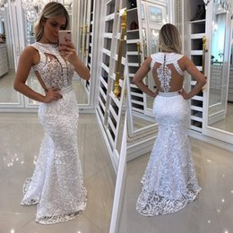 african white lace styles Promo Codes - African Style Crystal Prom Party Dresses 2018 White Sexy Hollow Back Mermaid Women Evening Pageant Dress