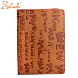 Wholesale English Leather Wholesale - Zongshu Cute English Letter Passport Holder Cover PU Leather ID Card Document Folder Travel Pouch Packages passport bag