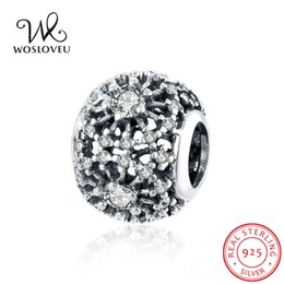 Classic 925 Sterling Silver Cubic Zirconia Round Circle Charm Bead Fits Pandora Bracelets DIY Charms Jewelry for Women WSCB03