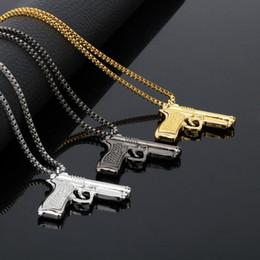 Wholesale Men Gold Pendent - Fashion Jewelry Hip Hop Dance Charm Gun Necklace Star Pendent Men Franco Chain Hiphop Golden Necklace