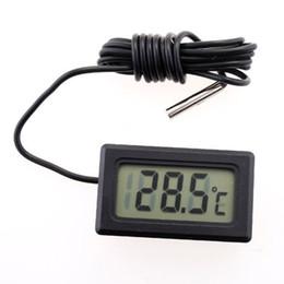 Mini LCD Termómetro digital Sensor de temperatura Acuario Frigorífico Congelador Termómetros -50 ~ 110C negro en caja de venta al por menor 500pcs desde fabricantes