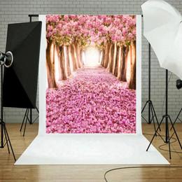 sfondo stradale Sconti ALLOYSEED 90X150cm Pink Blossom Rose Fiori Fondali per foto in strada Prop Vinyl Photography Background Cloth per Photo Studio