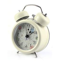relógios de flores de acrílico Desconto 3-polegadas Twin Bell Analog Alarm Clock Battery Operated - Alto Despertador (Branco)