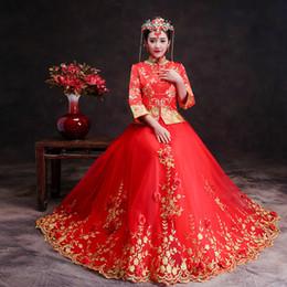 Kimono vestido tradicional online-Novia Boda Cheongsam Rojo Nuevo Chino tradicional Vestidos de novia Mujeres flor del bordado de encaje Qipao Vestido Robe Rouge Kimono