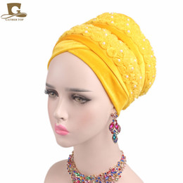 2be8a5b4 China 2017 New FASHION Luxury women Velvet turban 3D beaded flower Extra  Long Head Wraps Hijab