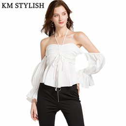 e9a9013e6d 2018 Autumn New Slim Solid Color Women Flare Sleeve Bow Blouse Female  Backless Sexy Halter Tube Top Shirt White   Red discount women formal  shirts bow