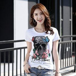 Wholesale Korean Fashion Shirts - 2018 new Summer women's T-shirt tops tees skull roses Korean female short sleeved T-shirt personality small shirt
