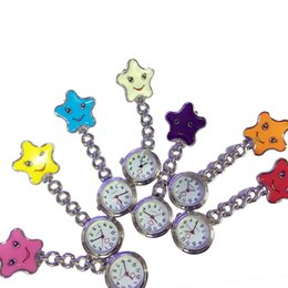 Wholesale Hanging Brooch - Pocket Watch Nurses Medical Quartz Watch Clip-on Brooch Pendant Hanging Smile Five-pointed Stars Relogio De Bolso Fob Watches