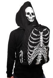 Wholesale Skeleton Hoodie Women - Men Women Unisex Skull Skeleton Printed Bag School Travel Book Bag Gothic Punk Street Style With Hat Hoodie Gift
