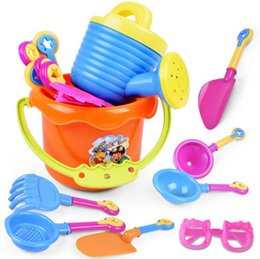 Wholesale kids beach toys set - 9PCS Baby Playing With Sand Water Beach Bucket Sunglass Toys Set Dredging Tool For Children Baby Kids Sandy Beach Toy OOA4961