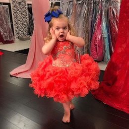 Wholesale Coral Flower Girl Pageant Dress - Lovely Coral Little Girls Cupcake Pageant Dresses 2018 Beaded Crystals Ruched Ruffles Tutu Skirts Kids Formal Gowns Flower Girl Dresses