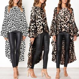 f0bc222337 Casual Chiffon Blouse Women Autumn 2018 Lantern Sleeve Ruffle Leopard Print  Shirt Long Winter Ladies Blouses