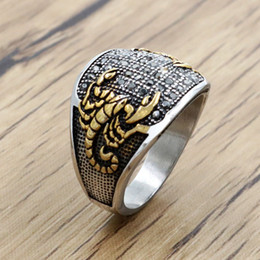 eagles band Promo Codes - Vintage Men Finger Scorpion Rings Gold Silver Color Round Stainless Steel Crystal Scorpion Pattern Ring CZ Micro Pave Eagle Rings