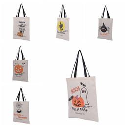 6 tipi Tote Bags di Halloween con manico nero Zucca Sacchetti di shopping natalizi Sacchetti regali festival Borsa di tela di Halloween da f1 luce fornitori