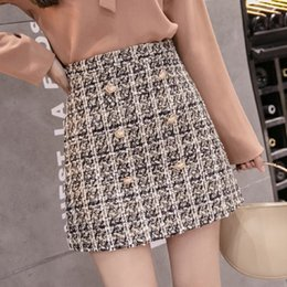 5bd576ae722 Vintage Plaid Women Skirt Winter 2019 New Fashion High Waist Skirt Ladies  Woolen Skirts Jupe Femme Hiver Faldas Mujer Moda