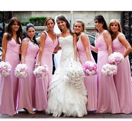 Wholesale Online Cheap Dress - Cheap Bridesmaids Dresses Pink 2018 Chiffon Ruched V Neck Wedding Guest Party Gowns Simple Long Bridesmaid Dress Online Store