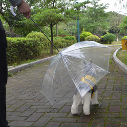 Wholesale Dog Umbrellas - High Quality Transparent Pet Umbrella Portable Built-in Leash Puppy Umbrella Cat RaincoatKeeps Pet Dry Comfortable in Rain
