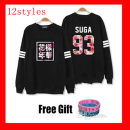 Wholesale Pink Tracksuits - Kpop bts hoodies for men women bangtan boys album floral letter printed fans supportive o neck sweatshirt plus size tracksuits