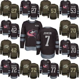 Men s Custom 2018 Columbus Blue Jackets 3 Seth Jones 10 Alexander Wennberg  17 Brandon Dubinsky 18 Pierre-Luc Dubois Black Army Green Jersey c8f6b7b4b