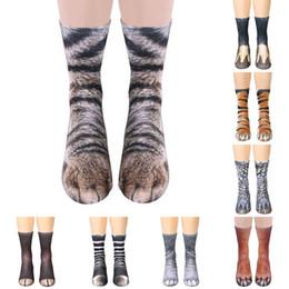 Calzino da piede della ragazza online-3D nuovi calzini donne uomini adolescente ragazzi ragazze stampato zoccoli piede animale zoccoli unisex alta elastico morbido bambini 3d cotone strano calzini di skateboard
