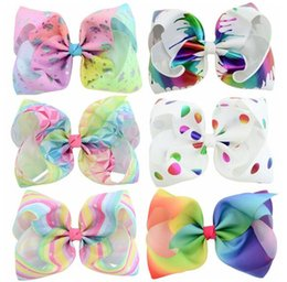 Wholesale Princess Paint - jojo 8 Inch Large Hair Bow Hearts Paint Splatter Hair Clip Party Supplies Princess Fairy With Rhinrstone Centre