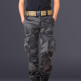 Wholesale camouflage pants for plus size - Men' Fashion Cargo Pants Military Camouflage Trousers For Men Combat Tactical Pants Male Multi Pocket Pants Army Style Trousers