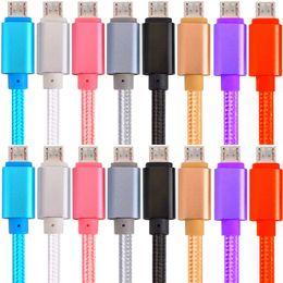 Hızlı Şarj Tipi c Mikro Usb Kablosu 1 m 2 m 3 m OD 5.0 Kalın örgülü naylon alaşım kablo samsung s6 s7 kenar s8 s9 htc android telefon için cheap mini usb phone nereden mini usb telefonu tedarikçiler