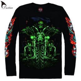 Wholesale Fluorescent T Shirts - TASTIEN 2018 Brand Russia T-shirt Skull Shirts Motorcycle Tshirt Fluorescent Tees Tops Men 3d Tshirt Cool Luminous Tees Big Size