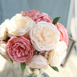 Silk Peony Bundle 5 Heads Wedding Flowers Peonie artificiali Fai da te Bouquet da sposa Flower Girl Damigelle d'onore Fiore da vasi da fiori rossi all'ingrosso fornitori