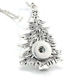 slide snap button Promo Codes - Christmas tree Snap Button Pendant fit 18mm Snaps Button 60CM Necklace Charms Fashion Pendant DIY Jewelry