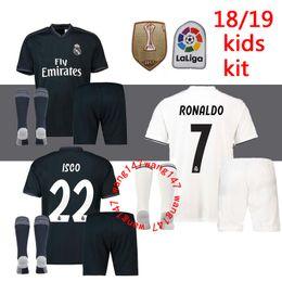 Wholesale Cotton Football Socks - new kids kits+sock 18 19 Real Madrid soccer jerseys boys child jersey 2019 2019 HOME AWAY RONALDO Asensio BALE ISCO RAMOS football shirts