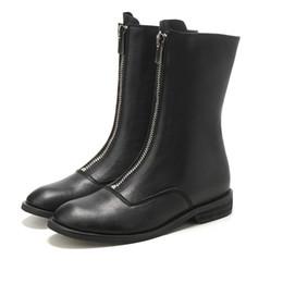 2018 nouvelles bottes d'automne et d'hiver I avant Zip rétro britannique vent Martin bottes femme Chic moto ? partir de fabricateur