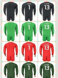 Wholesale corona black - Customized Uniforms Kit 2018 World Cup Country Jersey Mexico #1 CORONA #13 G.OCHOA Black Green Red Goalkeeper 2017-2018 Long Sleeve Jerseys