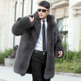 uomini blazer collari di pelliccia Sconti Pelliccia sintetica da uomo lunga moda imitazione pelliccia lunga e uomo.