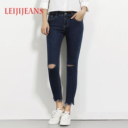 Wholesale 4xl Jeans For Women - Leiji jeans pencil pants ripped jeans for women elasticity tight slim ankle-length women pants 2017 summer women's jeans