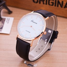 Wholesale Geneva Hours - Luxury Classic Geneva Gold Silver PU Leather Quartz Dress Business Wrist Watch Gift Hours for Men Boy Black Brown w016