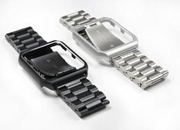 Пряжки ремня безопасности iwatch онлайн-Роскошные миланские петли ремешок для iwatch 40/44/42/38 мм 2 в 1 ремешок из нержавеющей стали с случае пряжки ссылка смотреть Band для Apple Watch series 4 3