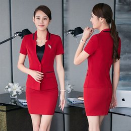 Wholesale Beauty Salon Wear - New Formal Summer Short Sleeve Career Suits With Tops And Skirt Plus Size Red Formal Blazers Beauty Salon Work Wear Clothing Set