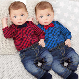 Wholesale Baby Boy Red Jeans - Boutique Newborn Clothes Red Plaid Rompers Shirts + Jeans Two Pieces Baby Boy Clothes Set Kids clothes Boys Clothing Toddler Boy Outfits