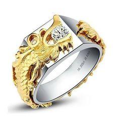 Placas de cultura on-line-Moda Cultura China Longo Ouro 0.33 ct Anel De Diamante Sintético Para O Homem Soild Prata 18 K Branco Banhado A Ouro Anéis não desbotar Alta Qualidade