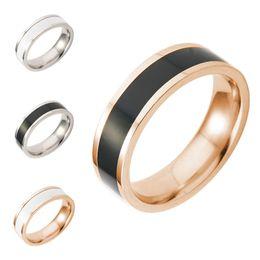 Wholesale titanium couple ring black - 2018 Titanium Black White Finger ring Rose Gold Simple Band Rings Two Tone ring Couple Rings for Women Men Fashion Lovers Jewelry 080190