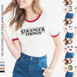 ringer tees Coupons - STRANGER THINGS Ringer Tee hipster shirts Tumblr Graphic t-shirt Women men Letter Print t shirt fashion cotton clothing Top