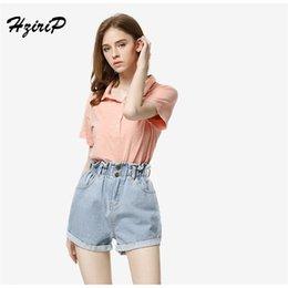 46741fc62a8d HziriP 2018 Summer High Waist Denim Shorts Women Casual Loose Ladies  Fashion Roll Up Hem Elastic Waist Pocket Blue Grey Jeans