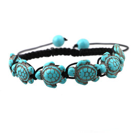 Wholesale 14k Turtle - Bohemian women's Turquoise Turtle Charm Bracelets black Hand woven Braided Rope adjustable Bangle For Unisex men s Fashion Jewelry