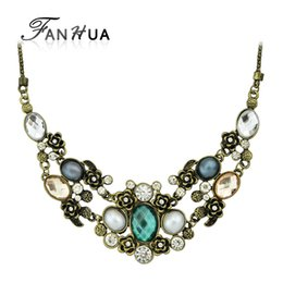 Wholesale Bronze Choker - Colar Vintage Jewelry Maxi Necklace for Women Retro Graceful Bronze Chain with Colorful Rhinestone Collares Statement Necklace