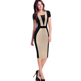 esteticistas uniformes Rebajas Vestido de carrera para mujer Elegante ilusión óptica Colorblock Contraste Modest Slim Wear to Work Business Casual Vestido de tubo de la envoltura