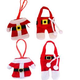 Mini Natale Babbo Natale vestiti Coltelli Forchette Set da tavola Decorazioni natalizie Festival Party Drop Ship 110030 da decorazioni da tavola fornitori
