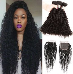 Wholesale 12 X 16 - Brazilian Human Hair Kinky Curly 3 Bundles With 4 X 4 Lace Closure Kinky Curly Hair Extensions Wefts With Top Closures